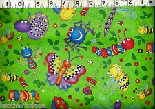Timeless Treasures ~ BRITE HAPPY BUGS Caterpiller ~ 100% Cotton Quilt Fabric BTY