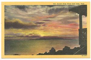 Sunset over Great Salt Lake,Utah,Deseret Book, Unused Vintage Postcard