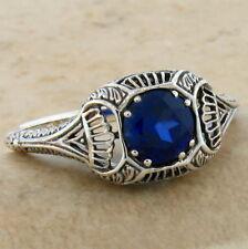 Blue Lab Sapphire Antique Art Deco Design .925 Silver Ring Size 8.75, #487