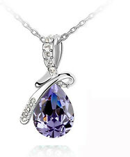 Elegant Silver & Amethyst Purple Angel Tear Crystal Necklaces Chains N171