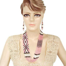 PINK WHITE BEADED NECKLACE EARRINGS SET NATIVE  STYLE INSPIRED JEWELRY S38/16