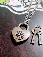 Four Leaf Clover Heart Lock Necklace Collar Stainless Steel Renaissance Celtic