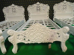 UK STOCK 3' Single size Ivory / Cream French  Rococo Bed carved mahogany wood