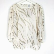 CHICOS Sz 0 Small NEW Taupe Dolman Blouse Tiger Animal Print Pullover Top NWT