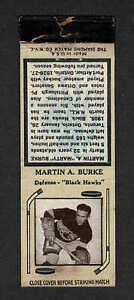 1936-39 Diamond Match Co. Chicago Blackhawks Marty Burke, VG