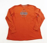 Vintage Nike Illinois Fighting Illini Shirt Mens 2XL Orange Long Sleeve