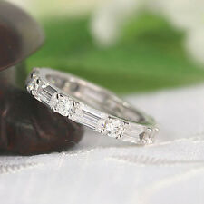 Solid 14K White Gold Eternity Band Sets 2.80 Ct Diamond Engagement Rings Size 9