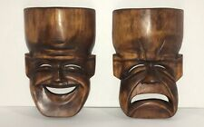 Pair Vintage Tiki Carved Wood Comedy Tragedy Drama Theater Masks Wall Hanging F2