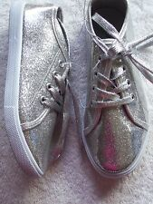 BNWT Older Girl's Sparkly Silver Lace Up Casual Shoes/Sneakers Size 2