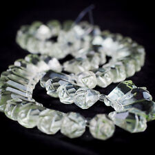 Vintage Splendid handcarved Rock Crystal Quartz Rose Flower Shape beads Necklace