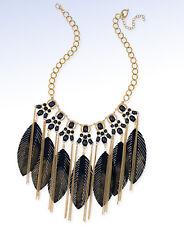 THALIA SODI Gold-Tone Black Stone & Faux Leather FEATHER Statement Necklace