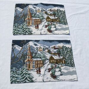 """2 Christmas Street Scene Placemats Tapestry Church Snowman 12"""" x 17.5"""""""