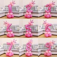 1 Set Blue Pink Foil Number Balloon Thicken Latex Ballons With Crown Decoration