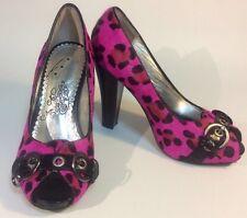 Women's Naughty Monkey Pink Fur Leopard Heels size 7.5