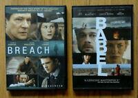 Breach & Babel DVD Movie Set lot collection - Brad Pitt drama psychological