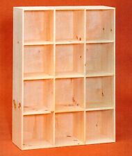 AMISH Unfinished Pine ~ 12 Hole Bookcase Shelf - Storage Cuddy Cube - Shoe Rack