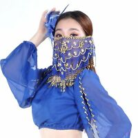Indian Embroidery Face Veil Belly Dance Costumes Head Scarf Dance Headpiece