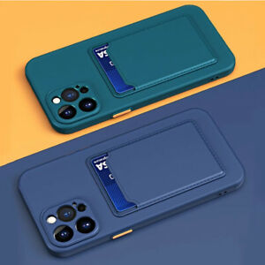 For iPhone 13 12 11 Pro Max X XS 7 8 Case Silicone Shockproof Card holder Cover
