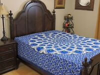 Blue Turquoise Peacock Feather Cotton Bedding India Wall Tapestry Bed Sheet Full
