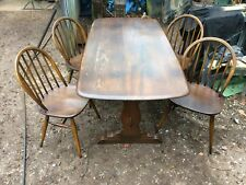ERCOL Dining Table and 4 Chairs mid century vintage retro solid elm