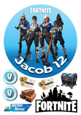 "Personalized Fortnite characters decoration 7.5"" ICING WAFER edible cake topper"