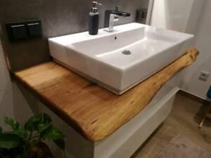 Waschtischplatte Waschtisch Badezimmer Holzplatte Eiche massiv, geölt, Baumkante