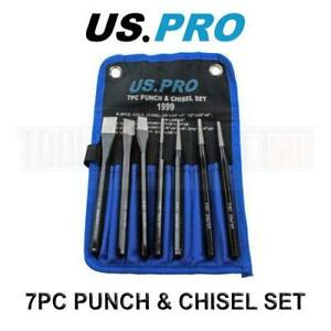 US PRO Tools Punch Chisel Set 7pc Cold Chisel Center Punch PIN Punch Taper Punch