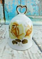 """Vintage Porcelain Made in Japan Floral W/ Little Heart Figurine Bell 3-1/4"""" Tall"""