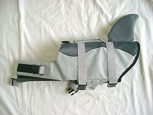 SHARK FIN Dog Life Jacket Large Neoprene Preserver Safety Vest sz M-L Pool/Lake