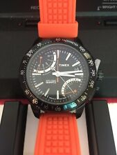 New Timex T2N707 IQ Fly Back Chronograph Watch Orange Silicone / Black Analog