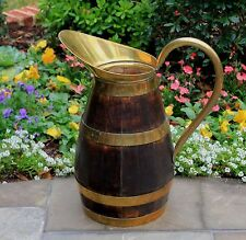 Antique French Country Oak Brass Banded Wine Jug Water Pitcher Umbrella Stand