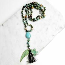 "Hand Knotted 6mm African Turquoise 30"" Long Necklace Verdigris Wing Flower Charm"