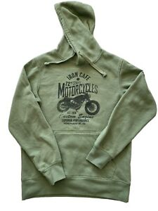 Brilliant Basics Unisex Mens Size S Green Hoodie Iron Cafe Motorcycles Brooklyn