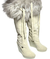 Dior Authentic Off White Genuine Fur Trim Suede Wedge Knee Boots 37.5 US 7 $1450