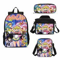 4PCS/Set Sailor Moon Backpack Girls Kawaii Tsukino Usagi Lunch Bag Pen Case Lot
