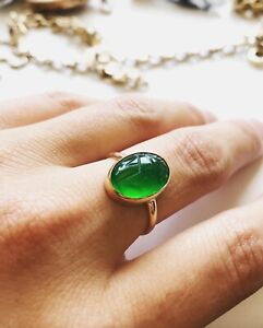Natural Chrysoprase   Handmade 925 silver Plated Ring Jewelry Size 10.5 US Jewelry P 8584