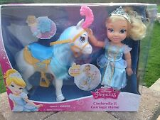 "Disney Princess Toddler Cinderella and Carriage Horse 16"" Doll Set NIP HTF"