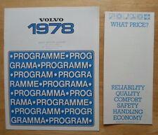 VOLVO RANGE 1978 UK Mkt Sales Brochure + Price List - 66 343 244 245 264 265