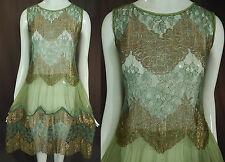 Vintage Art Deco Mint Green Silk Gold Lamé Lame Lace Drop Waist Flapper Dress