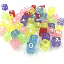 DIY 100pcs Transparent Cubic Mixed Acrylic Letter/ Alphabet Spacer Beads 10X10mm