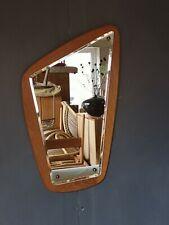 Vintage Danish Teak Asymmetric Mirror Bevelled Glass