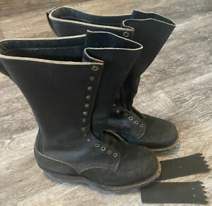 RARE🔥 White's Boots Black Leather Logger Firefighter Boots 9 FF Caulk Soles