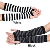 Women Warm Mitten Winter Long Knitted Wrist Arm Hand Warmer Fingerless Gloves D
