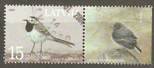 Latvia: single used stamp, National Bird - White Wagtail, 2003, Mi#596