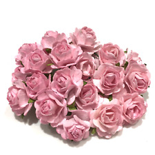 Pink Open Mulberry Paper Roses Flowers Crafts Card Making Embellishment Or093