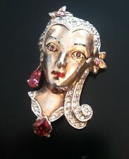 Vintage Sterling Silver Figural Cleopatra Vivien Leigh Pin Brooch 1940's