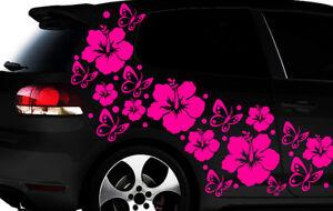 108-teiliges Auto Aufkleber Hibiskus Blumen Schmetterlinge HAWAII WANDTATTOO l3p