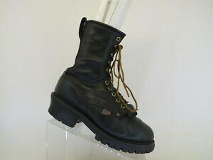 Carolina Black Leather Laces Kilt Logger Woodland Work Boots Mens Sz 7.5 EE USA