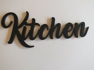 Black Wooden Kitchen Wall Sign  30 cm