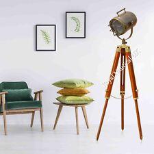 Tripod Floor Lamp Nautical Spotlight Vintage Wooden Light Home Office
